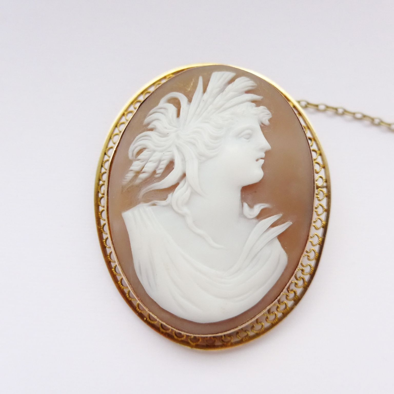 Antique Gold Cameo Brooch - Shell Cameo Late Victorian 9ct Filigree ...