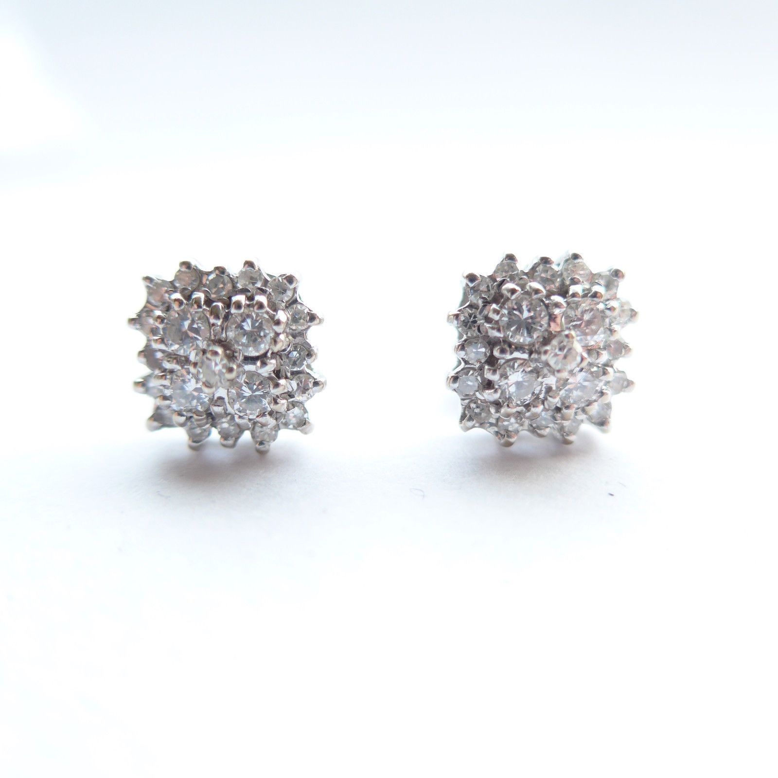 237cd0574 SOLD 18ct White Gold & Diamond Square Cluster Earrings - Approx 1 CT  Diamond Weight