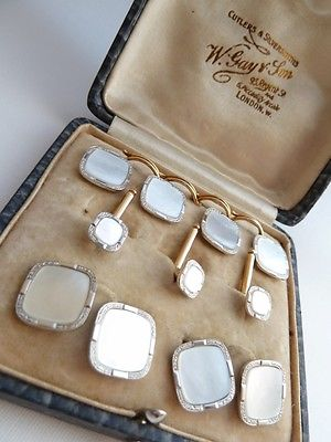SOLD Antique Art Deco 14ct Yellow Gold & Platinum Cufflinks Full Dress Set Boxed