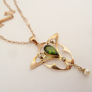 SOLD ANTIQUE ART NOUVEAU PENDANT NECKLACE 9CT GOLD SET WITH GREEN STONE & PEARLS